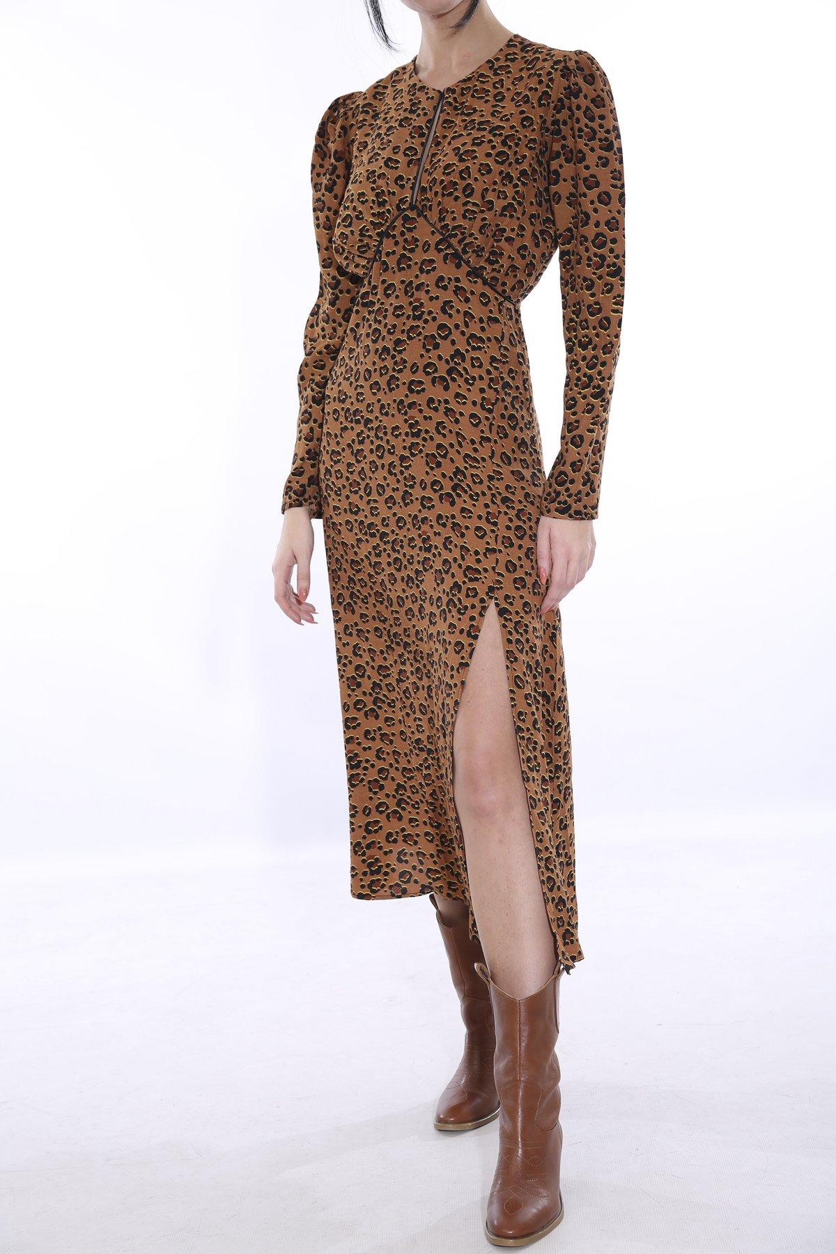 Kuşaklı Leopar Desenli Elbise Brl