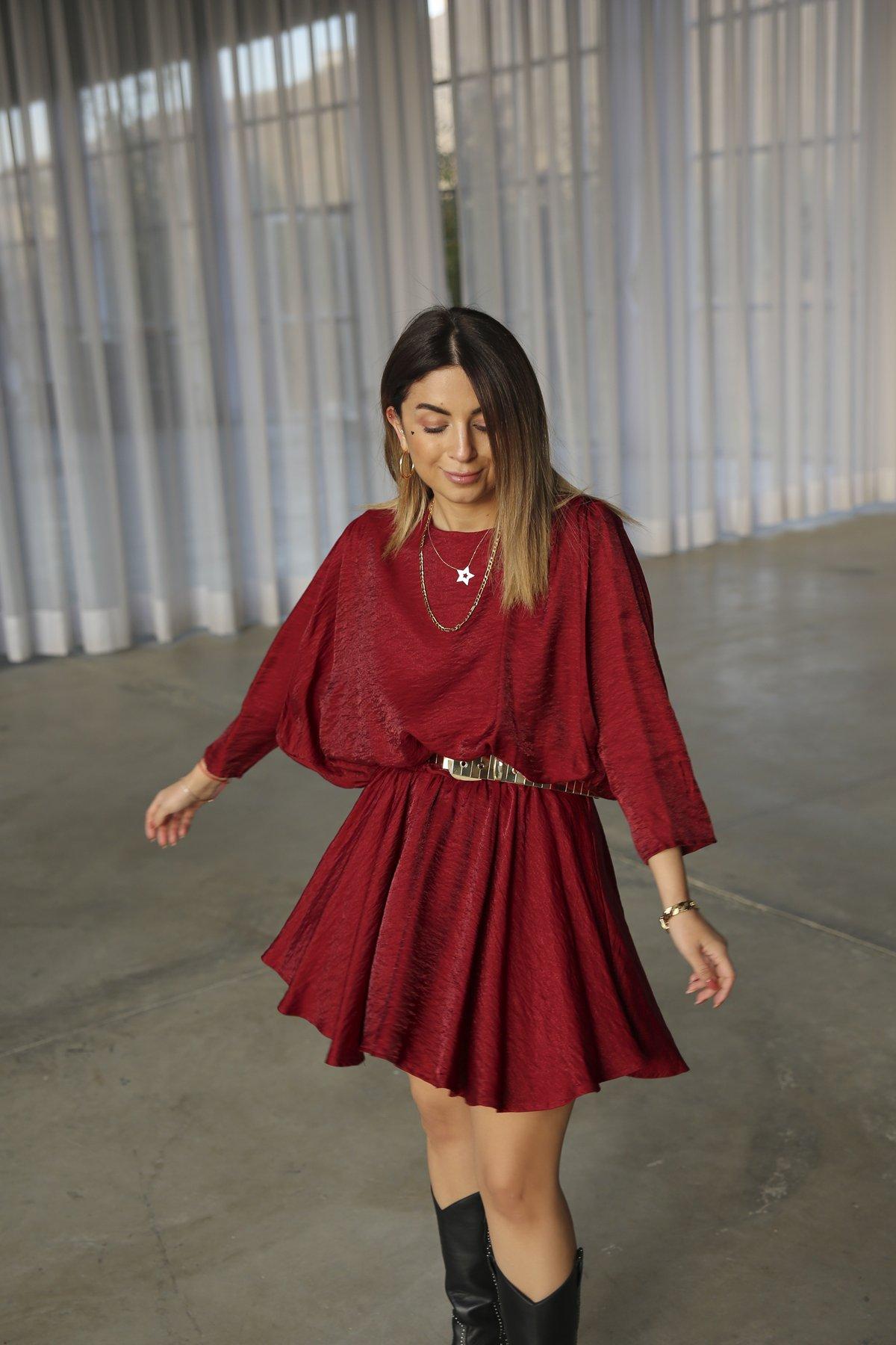 Yarasa Kol Volanlı Saten Elbise Ello