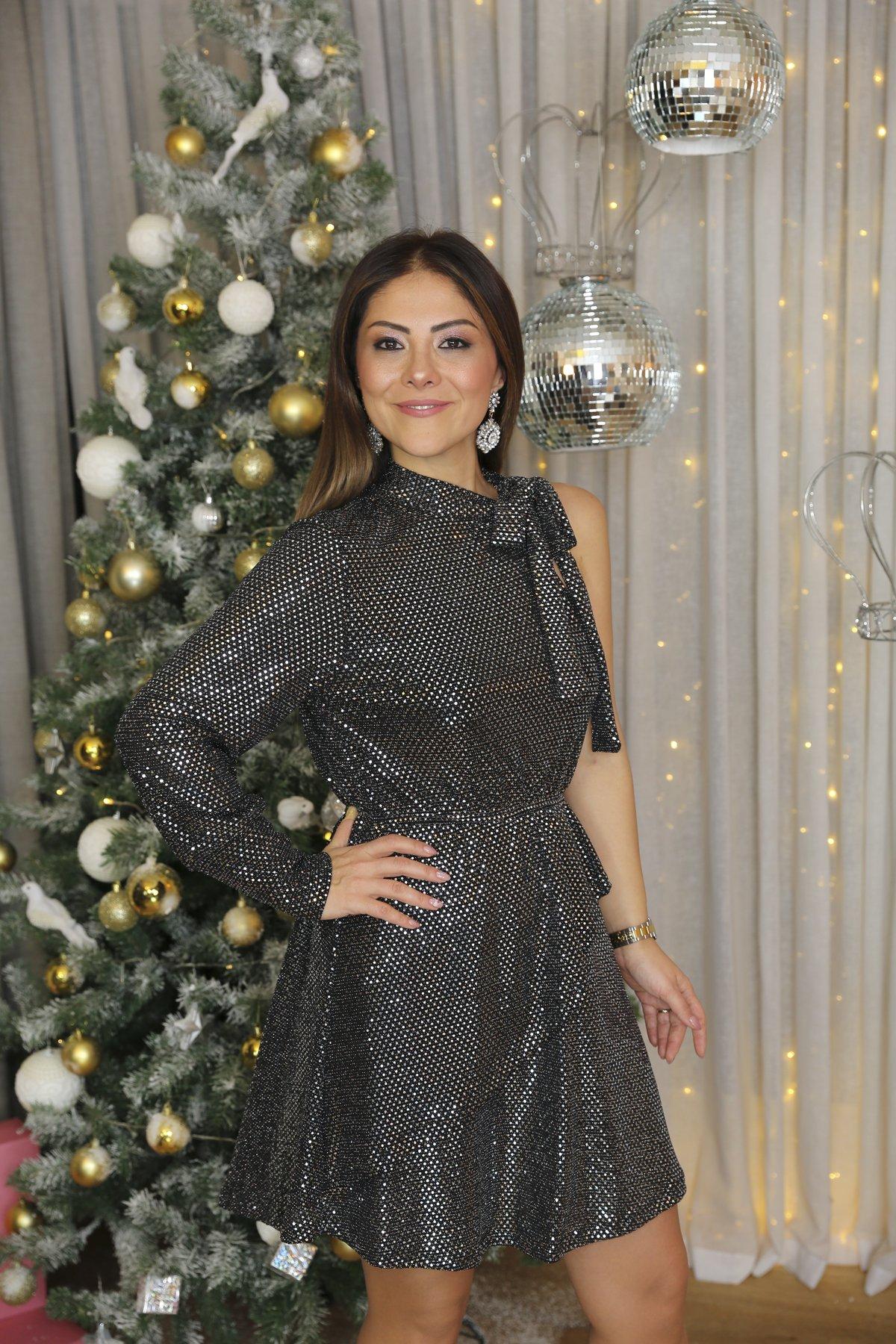 Pullu Yaka Bağcıklı Elbise Ch