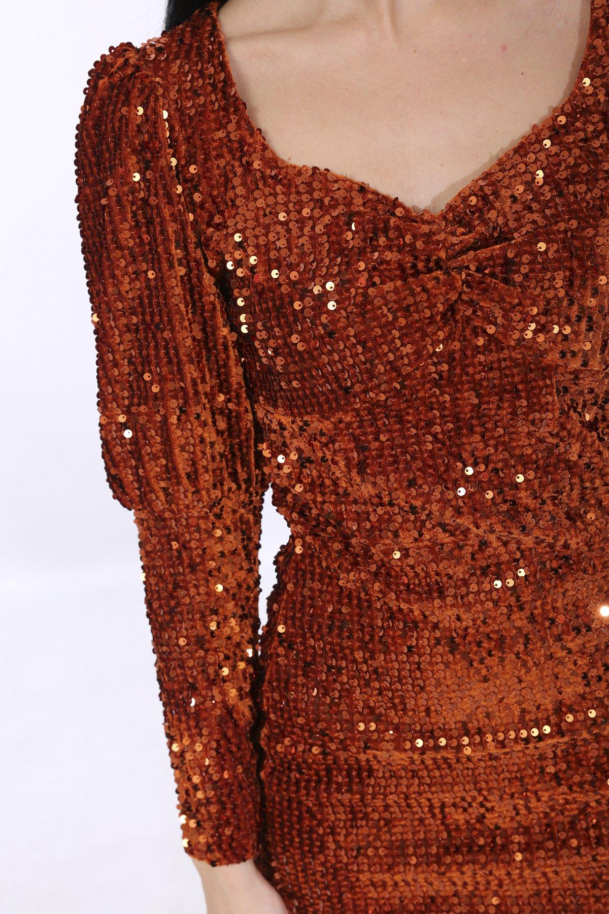 Payetli Kadife Elbise