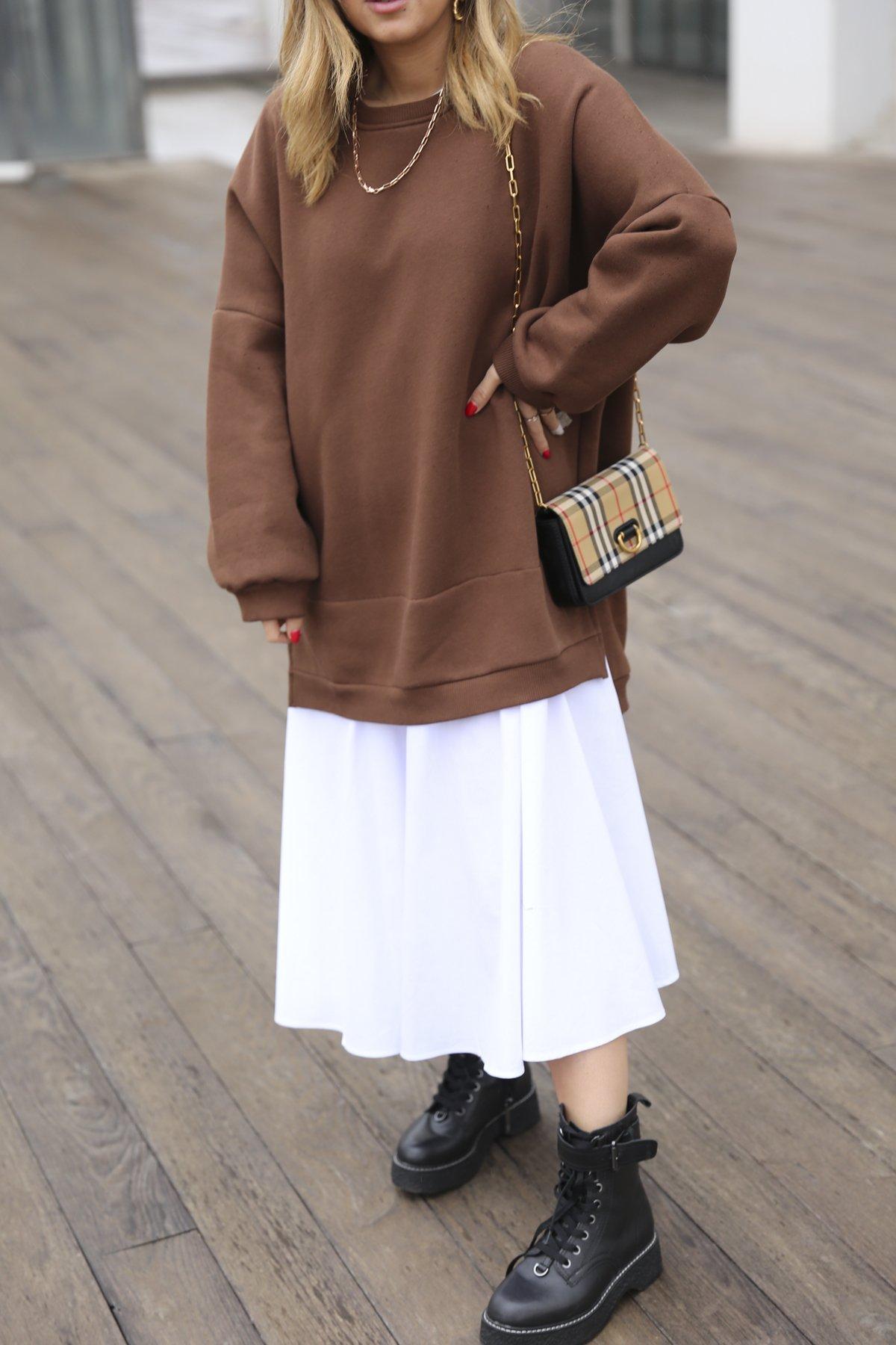 Eteği Poplin Sweat Elbise Cr