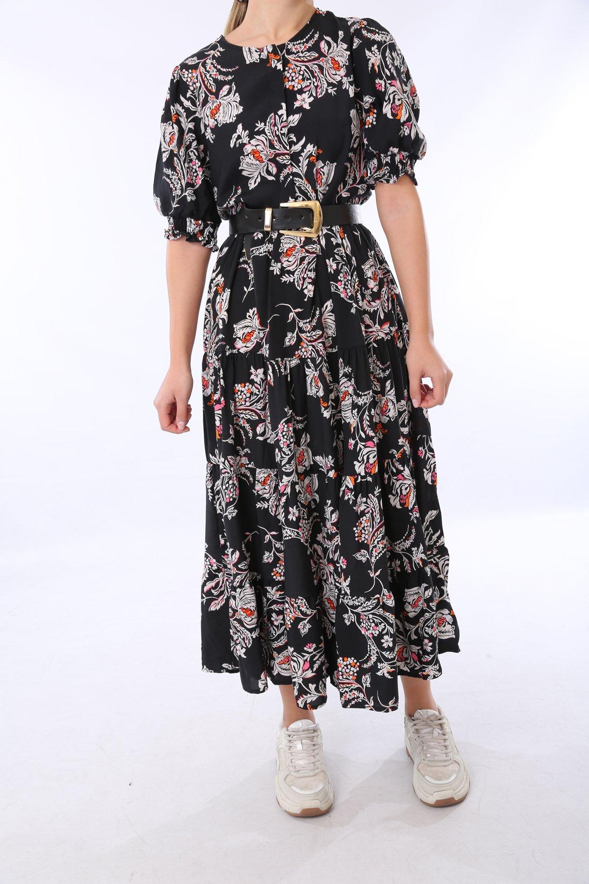 Kısa Kol Çiçek Desen Elbise  Bebe