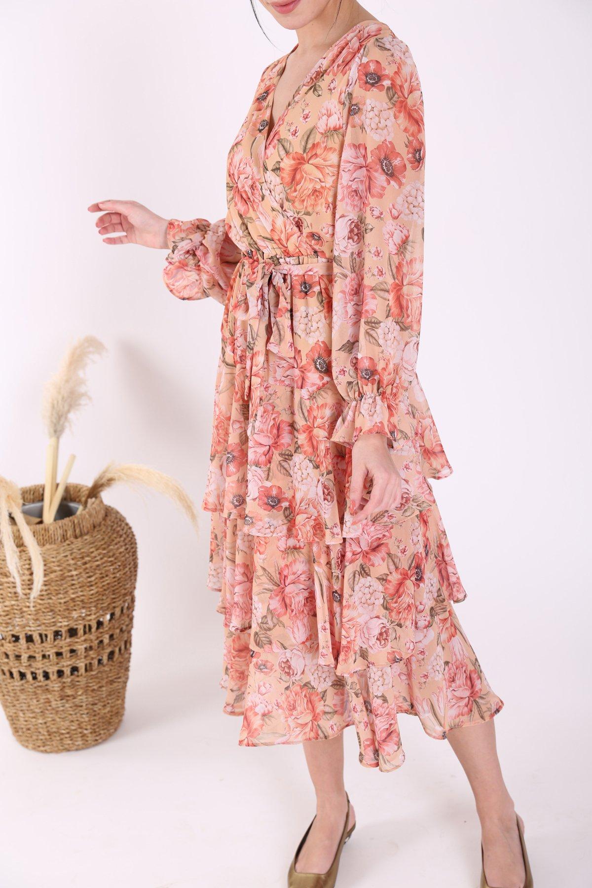 V Yaka Beli Lastikli Kemerli Çiçek Desen Elbise Etc