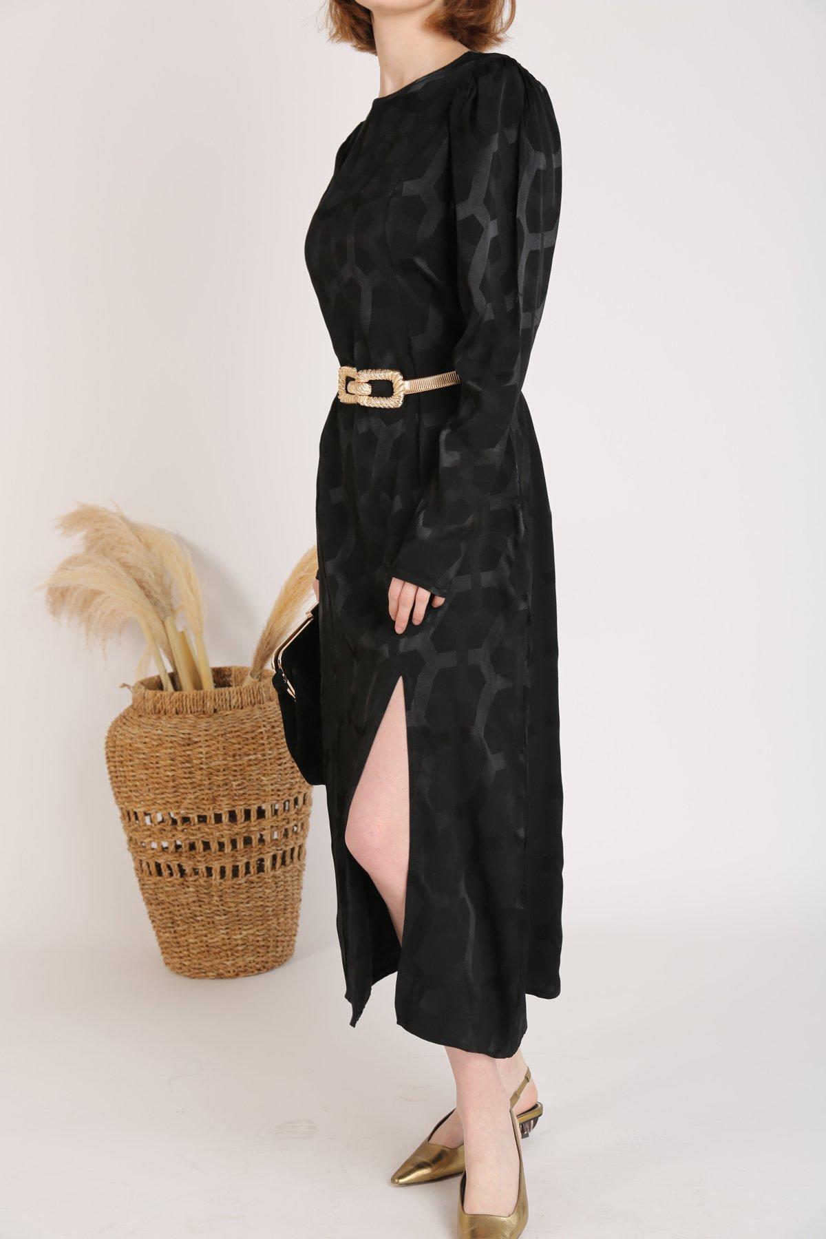 Geometrik Desen Etek Ucu Yırtmaçlı Elbise Cr
