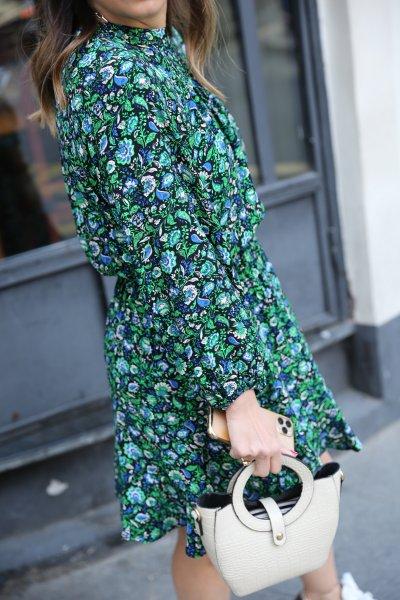 Beli Lastikli Desenli Mini Elbise
