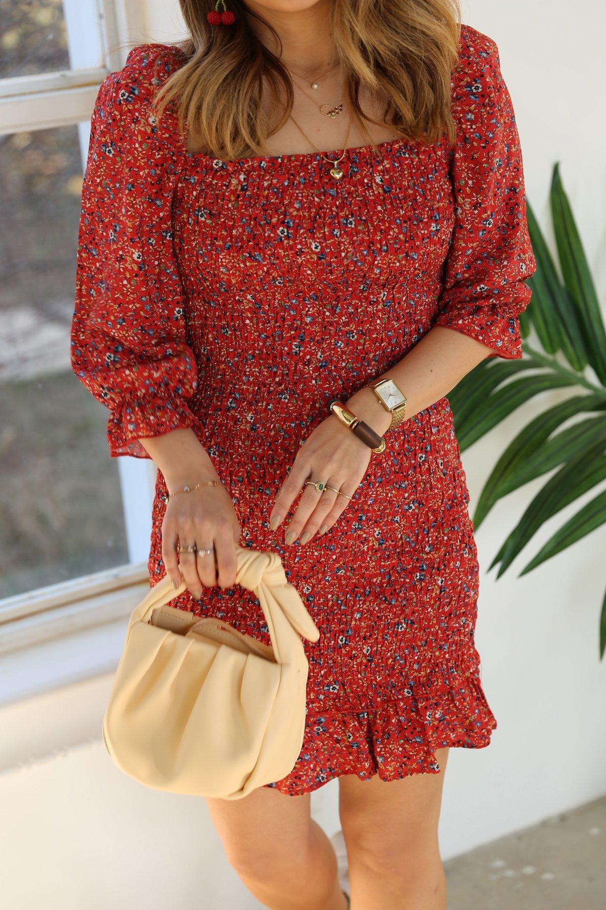 Desenli Gipeli Elbise