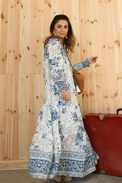 Mavi Desenli Uzun Elbise