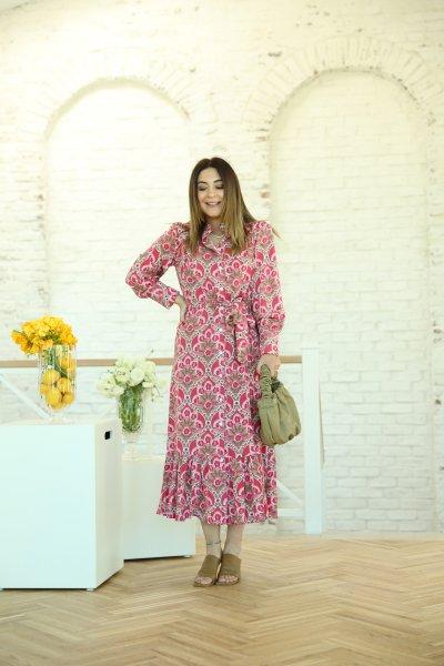 Pembe Çiçekli Altı Volanlı Elbise