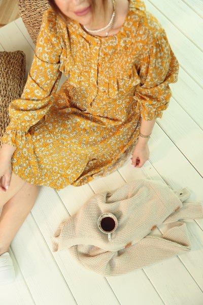 Sarı Papatya Desen Kol Ucu Büzgülü Elbise
