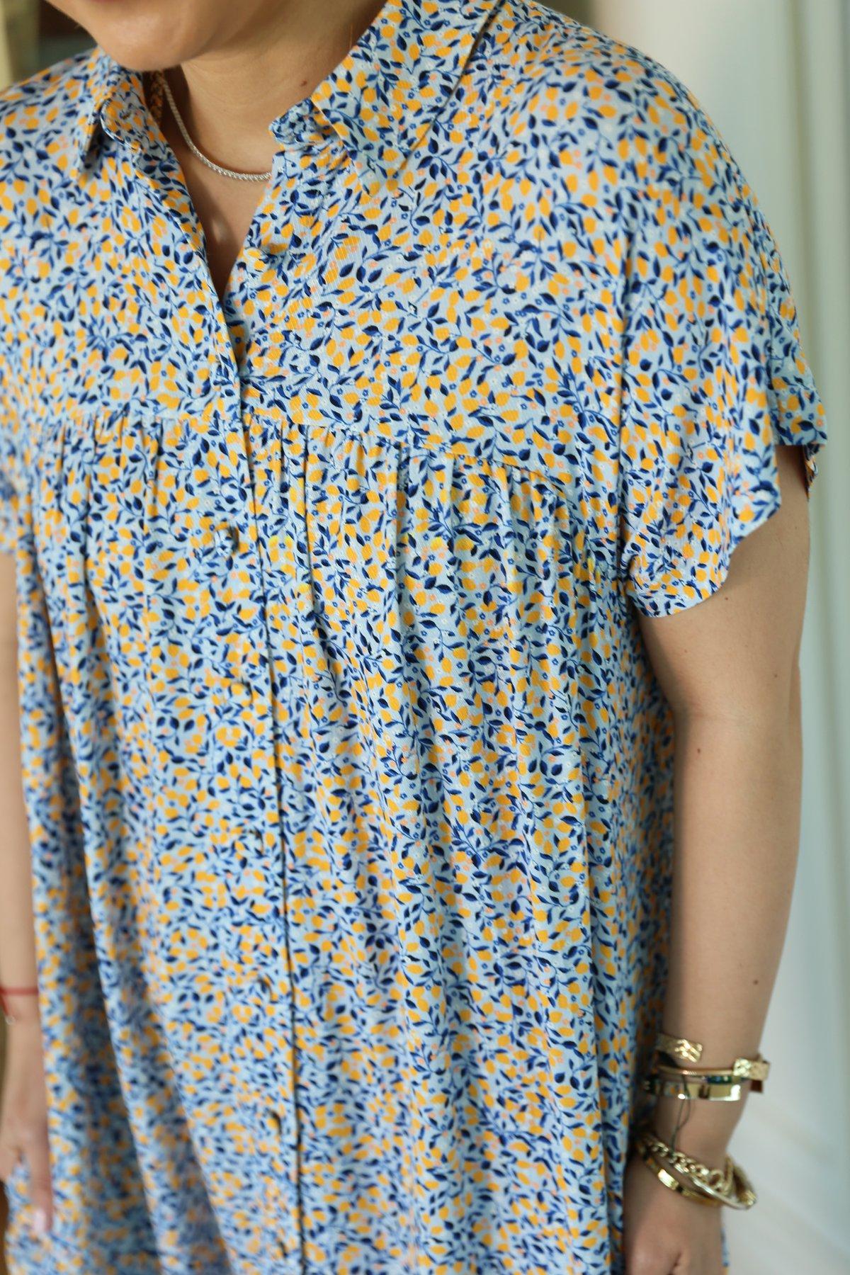 Bebe Mavisi Gömlek Yaka Çiçekli Midi Elbise