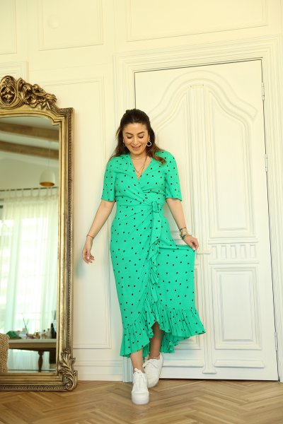 Yeşil Önü Kruvaze Puantiyeli Elbise