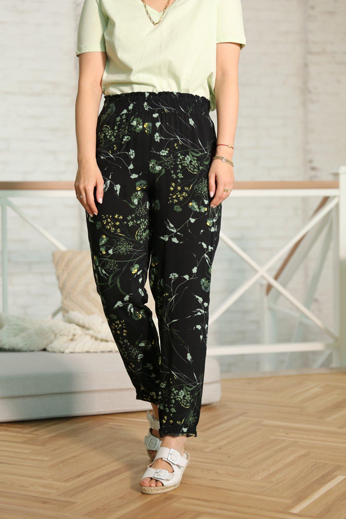 Siyah Beli Lastikli Çiçek Desen Pantolon