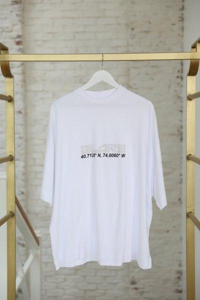 Beyaz Kordinat Baskılı Tişört