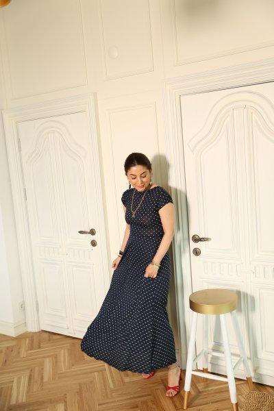 Lacivert V Yaka Puantiyeli Elbise