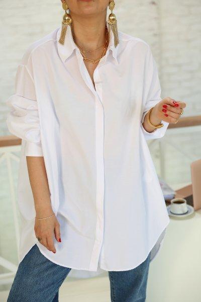 Beyaz Önü Kısa Arkası Uzun Salaş Gömlek