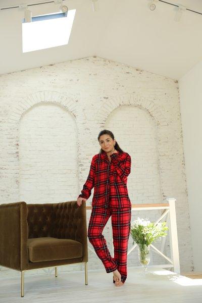 Kırmızı Ekoseli Pijama Takımı