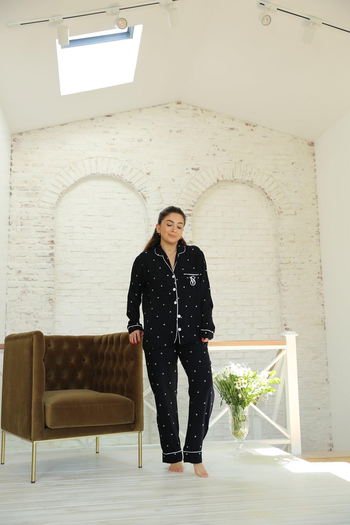 Yıldız Baskılı Önden Düğmeli Pijama Takımı