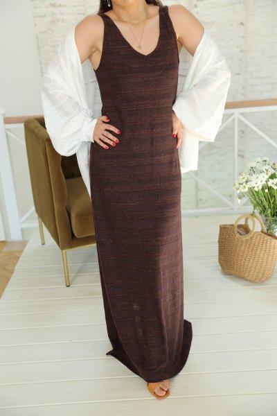 Kahverengi V Yaka Simli Elbise