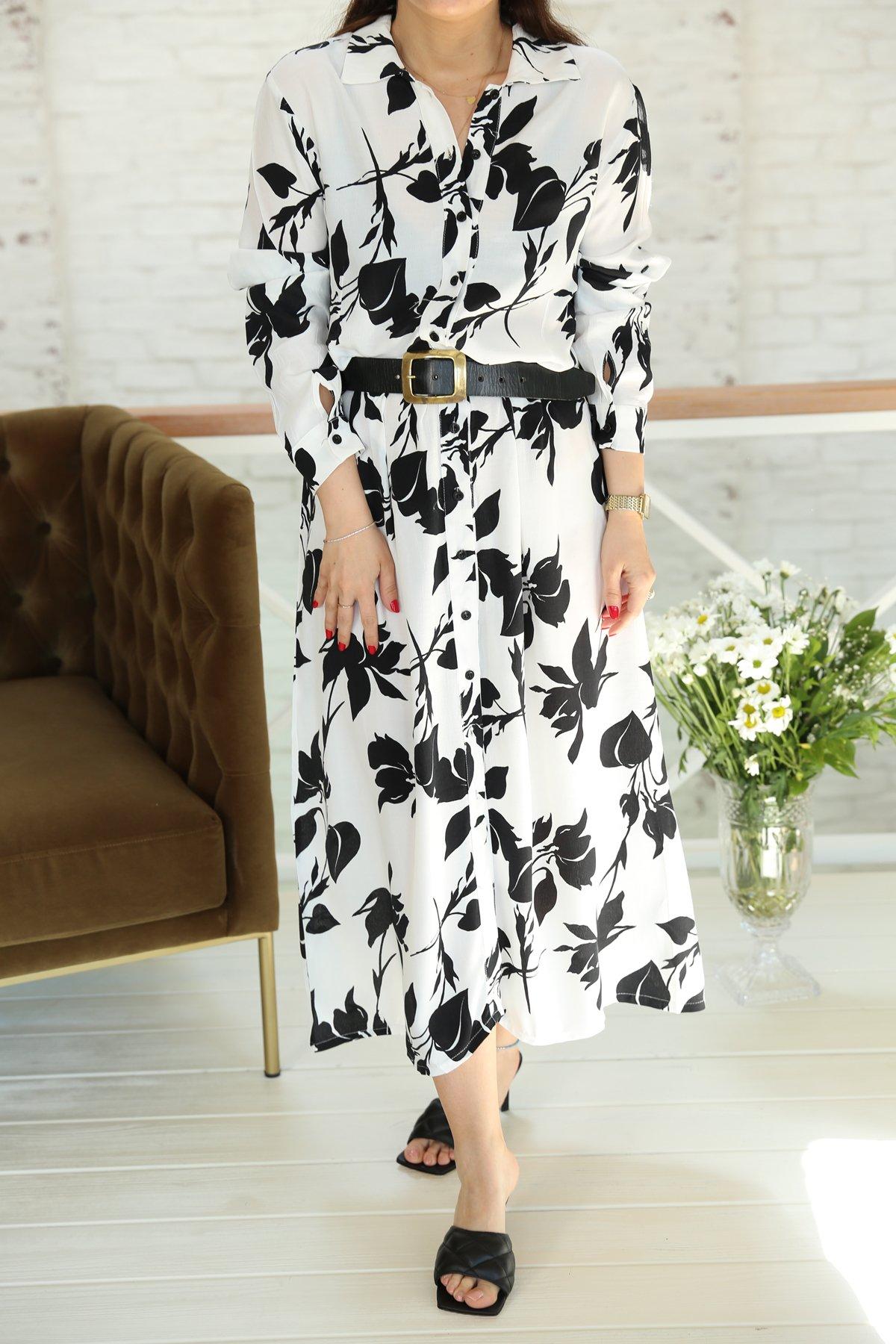 Beyaz Yaprak Desenli Uzun Elbise