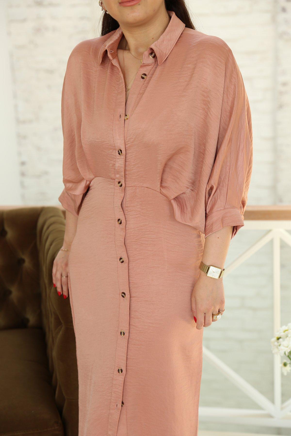 Karpuz Kol Uzun Düğmeli Elbise