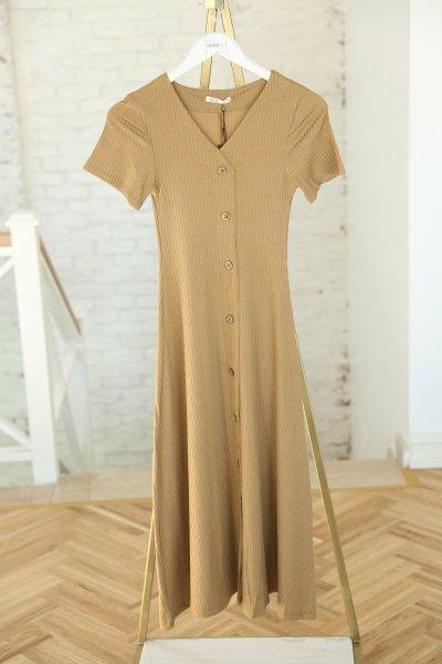 V Yaka Kendinden Fitilli Düğmeli Elbise