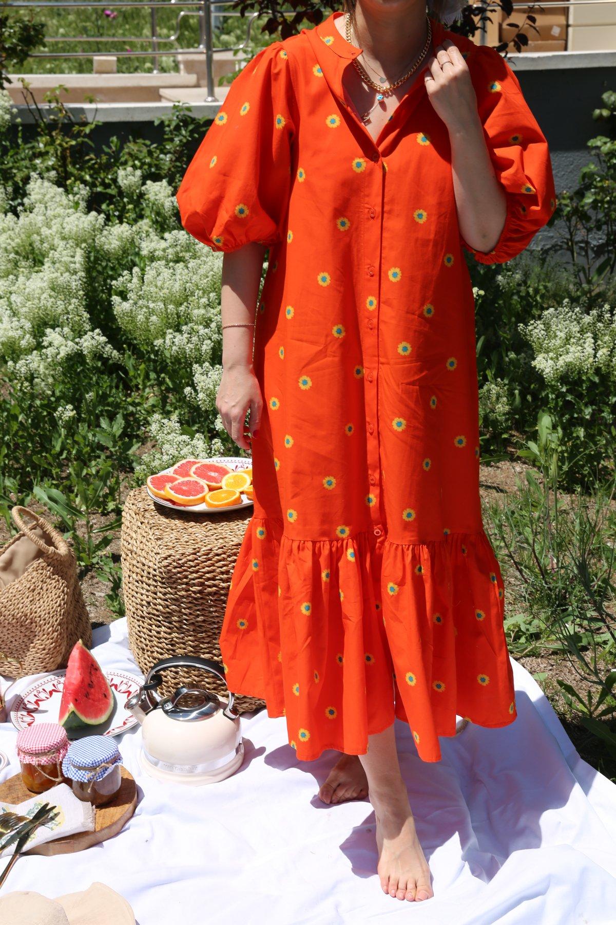 Papatya Desen Balon Kol Elbise