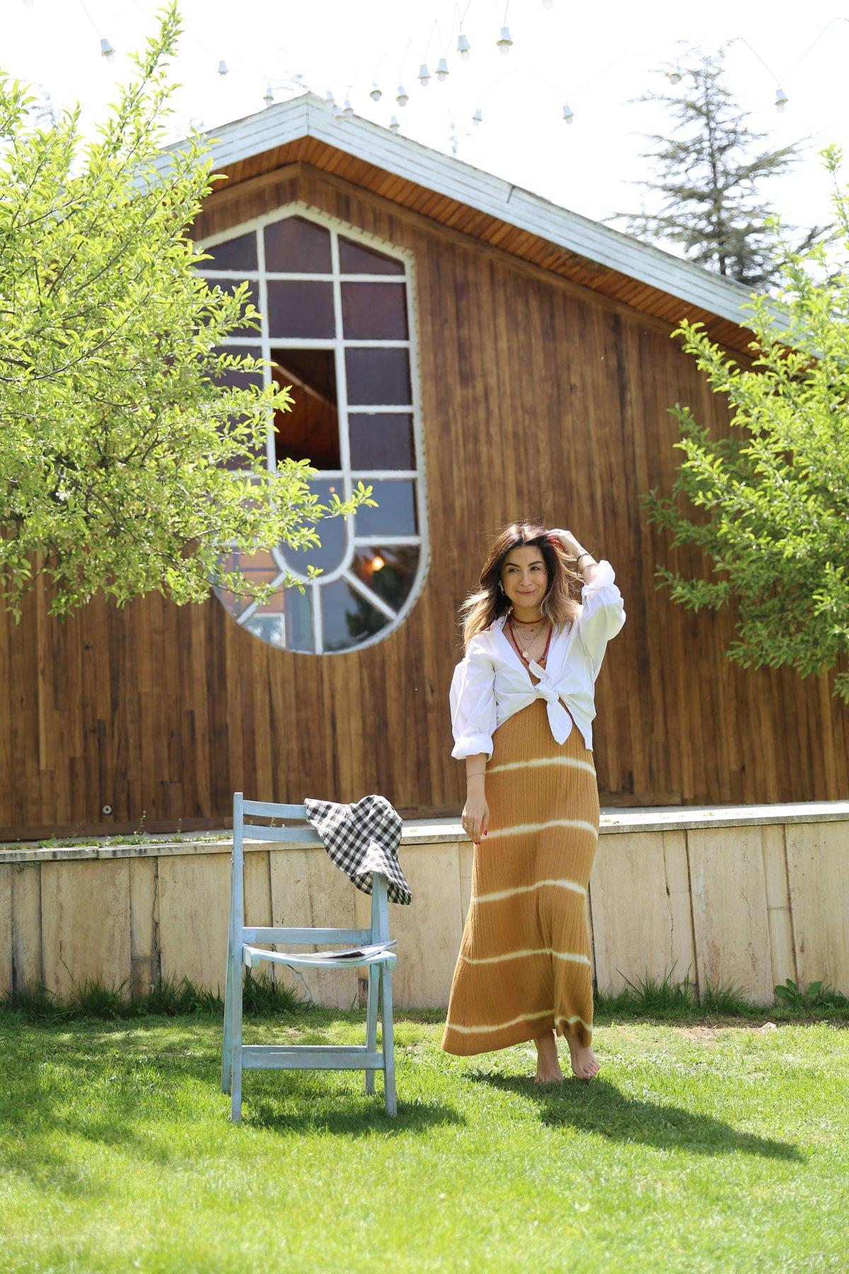 İp Askılı Renk Geçişli Elbise