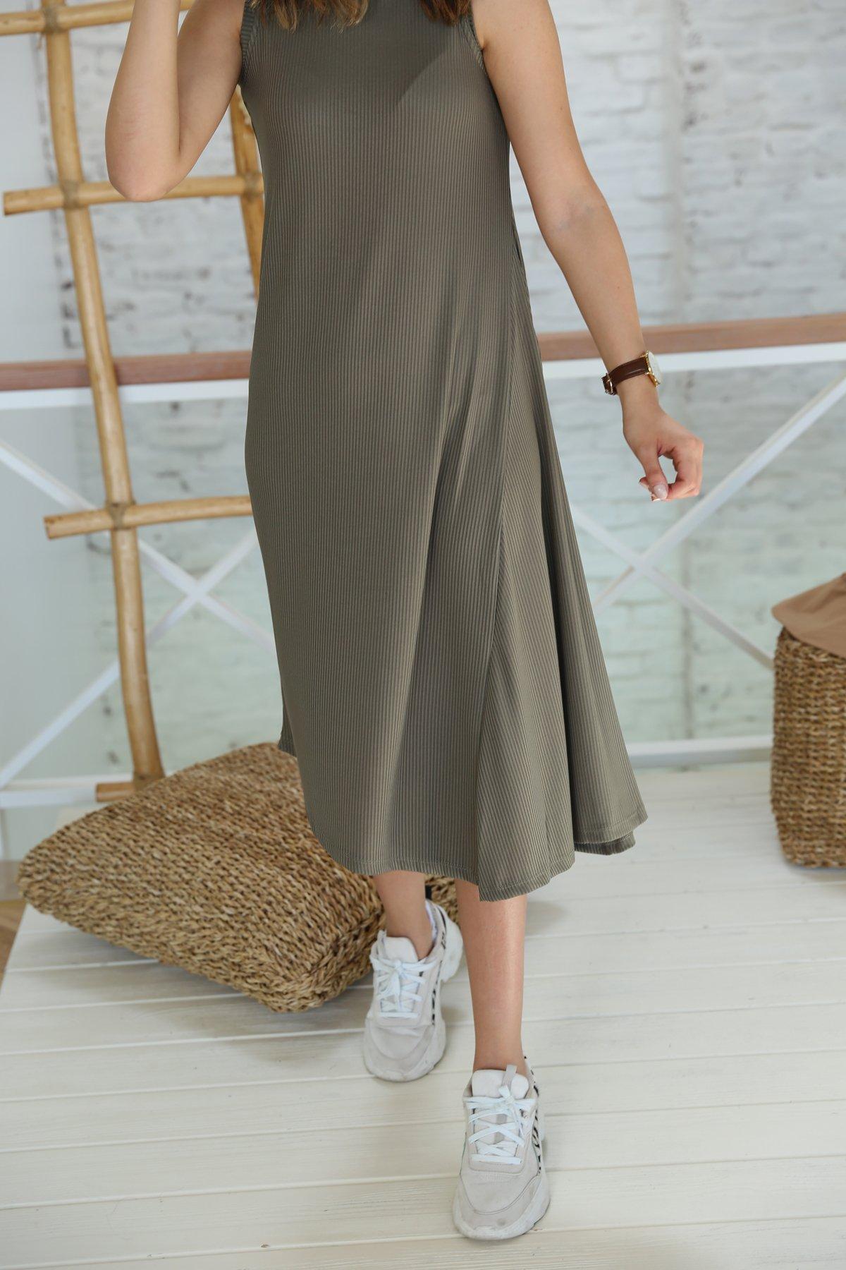 Fitilli Asimetrik Kesim Elbise