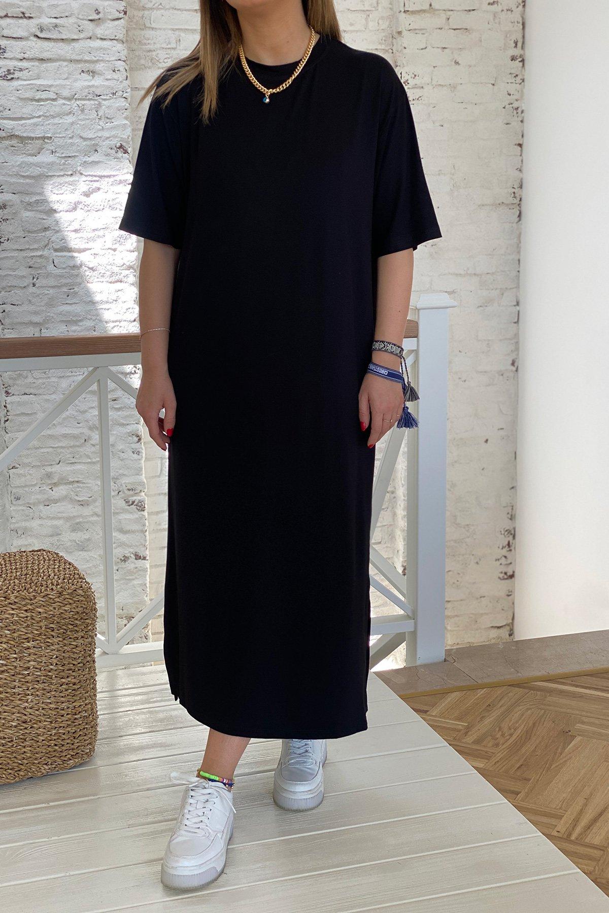 Kısa Kollu Uzun Penye Elbise