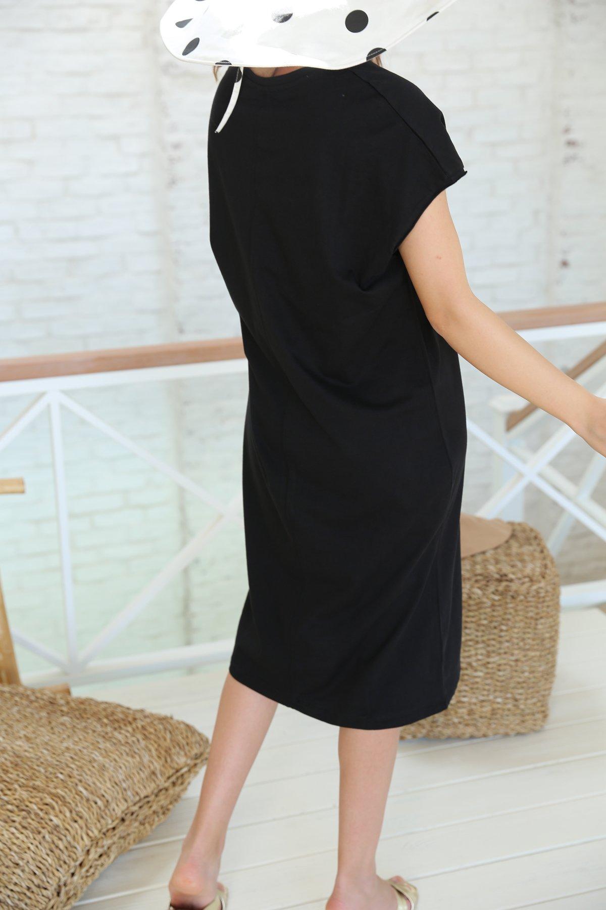 Kısa Kollu Salaş Penye Elbise