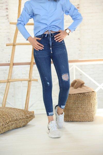 Mavi Dizi Ve Paçası Lazer Kesikli Jean