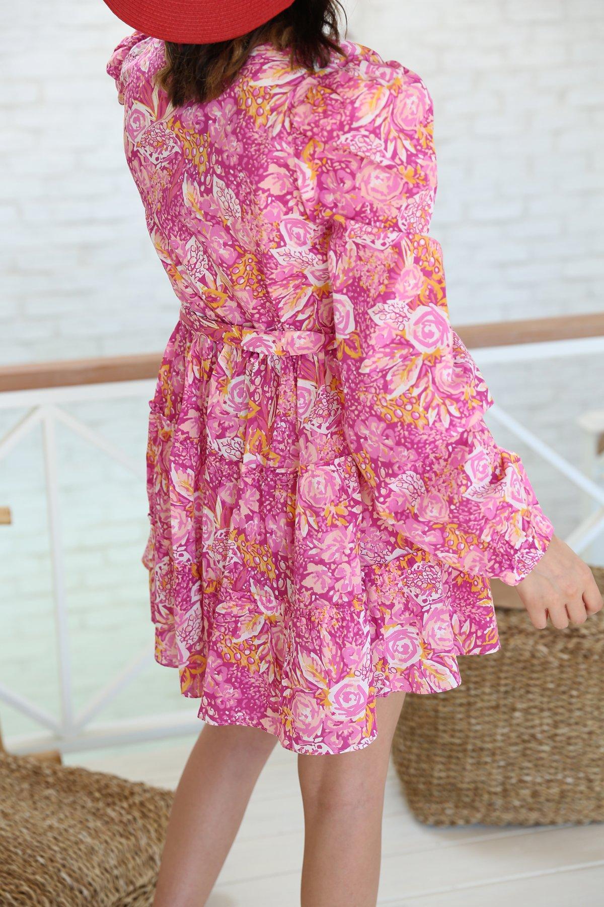V Yaka Kuşaklı Beli Lastikli Elbise