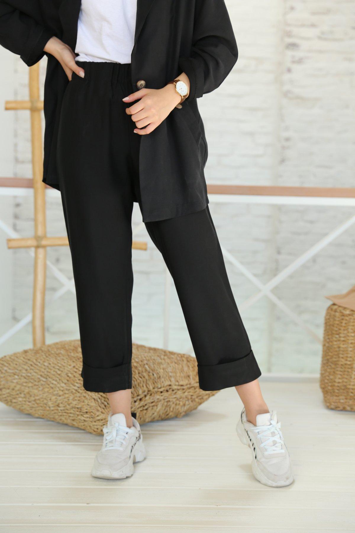 Beli Lastikli Duble Paça Pantolon Ceket Takım