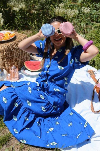 Balon Kol Kuşaklı Desenli Elbise