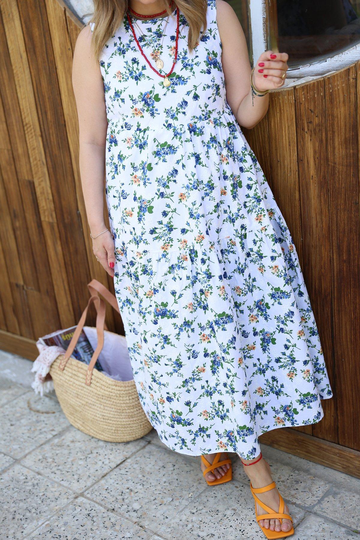 Kolsuz Çiçek Desen Salaş Uzun Elbise