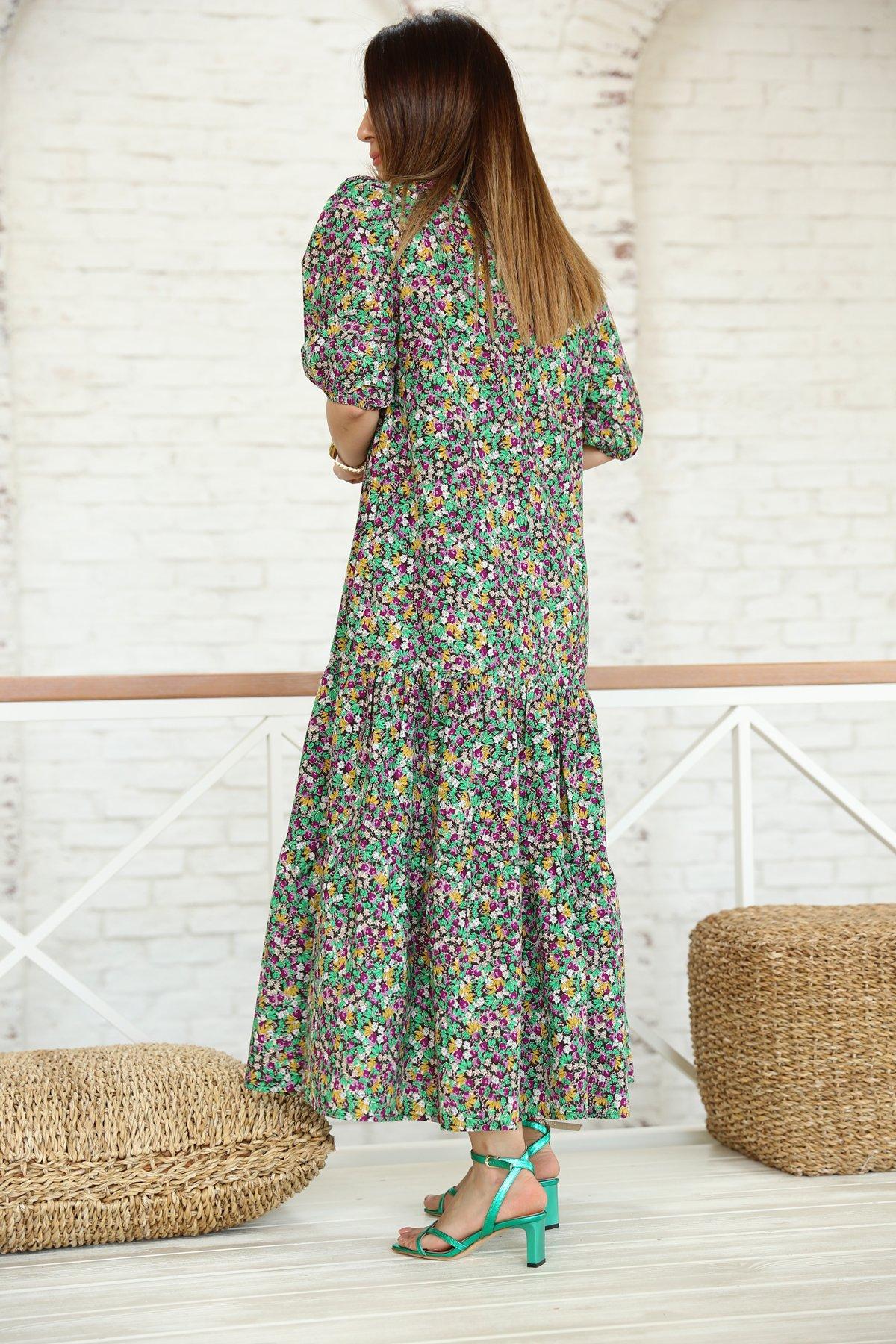 Dantel Yakalı Karpuz Kollu Çiçekli Elbise