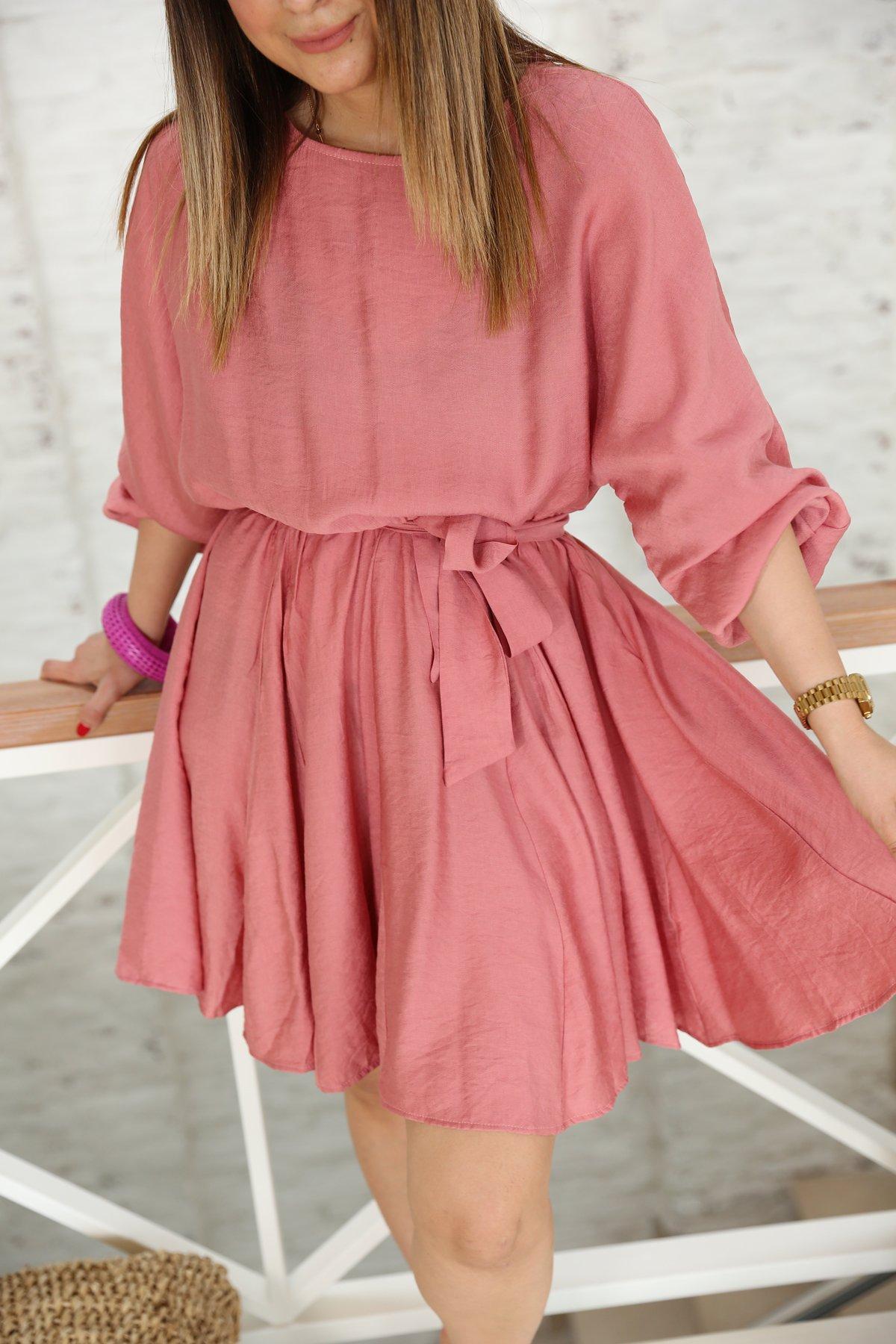 Beli Lastikli Kuşaklı Elbise