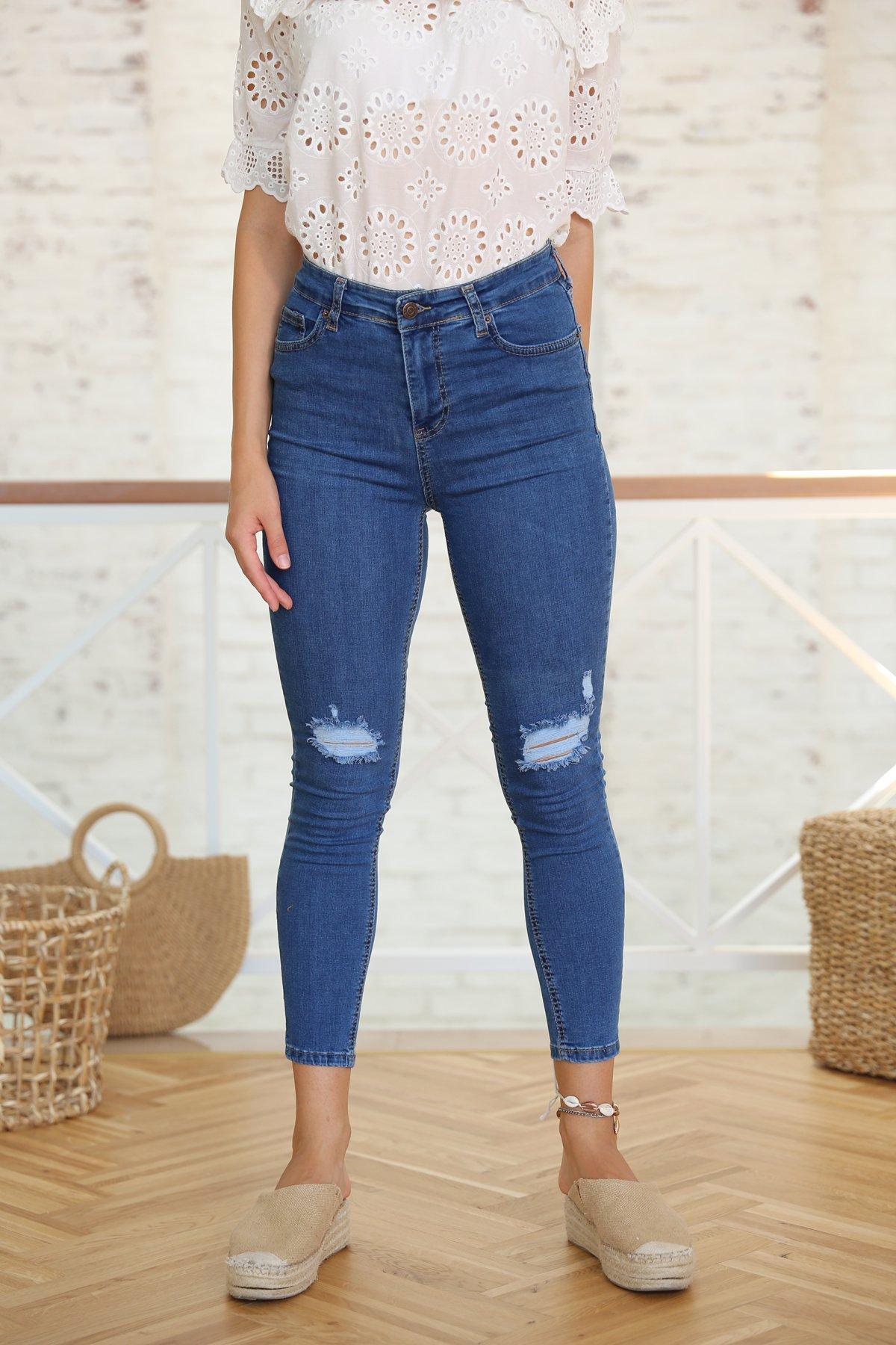 Dizi Yırtık Skinny Jean