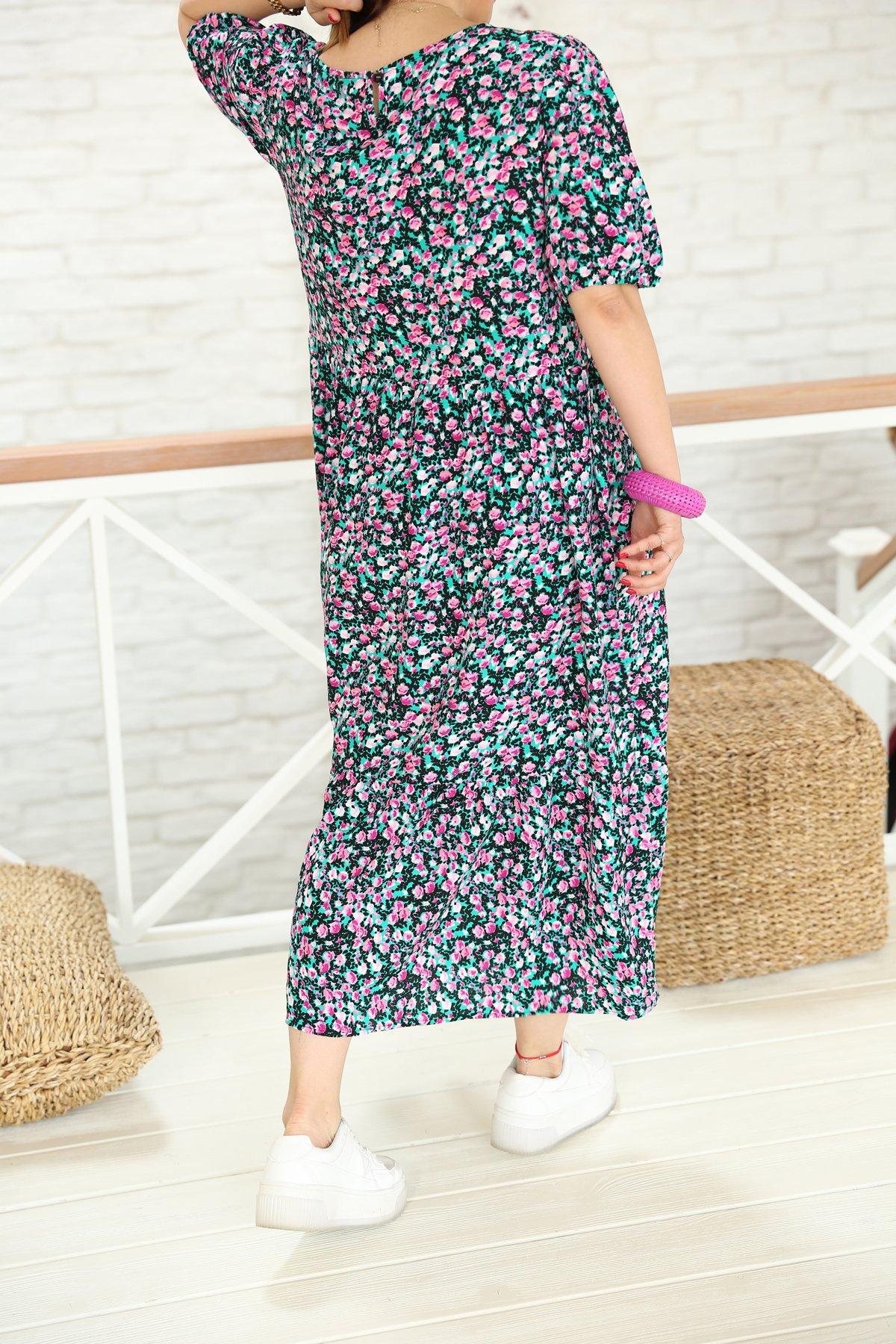 Kısa Kollu Salaş Çiçekli Elbise