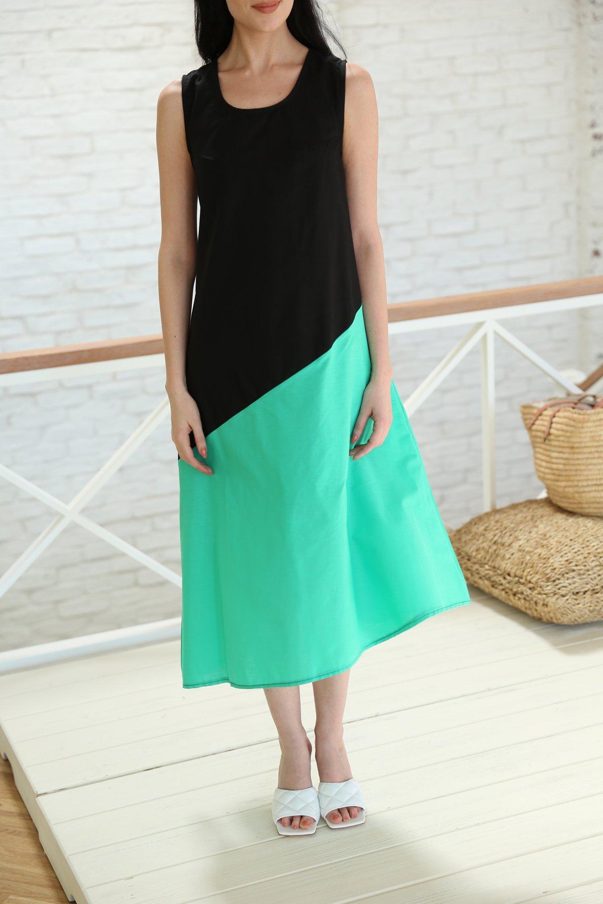 Çift Renk Kolsuz Elbise