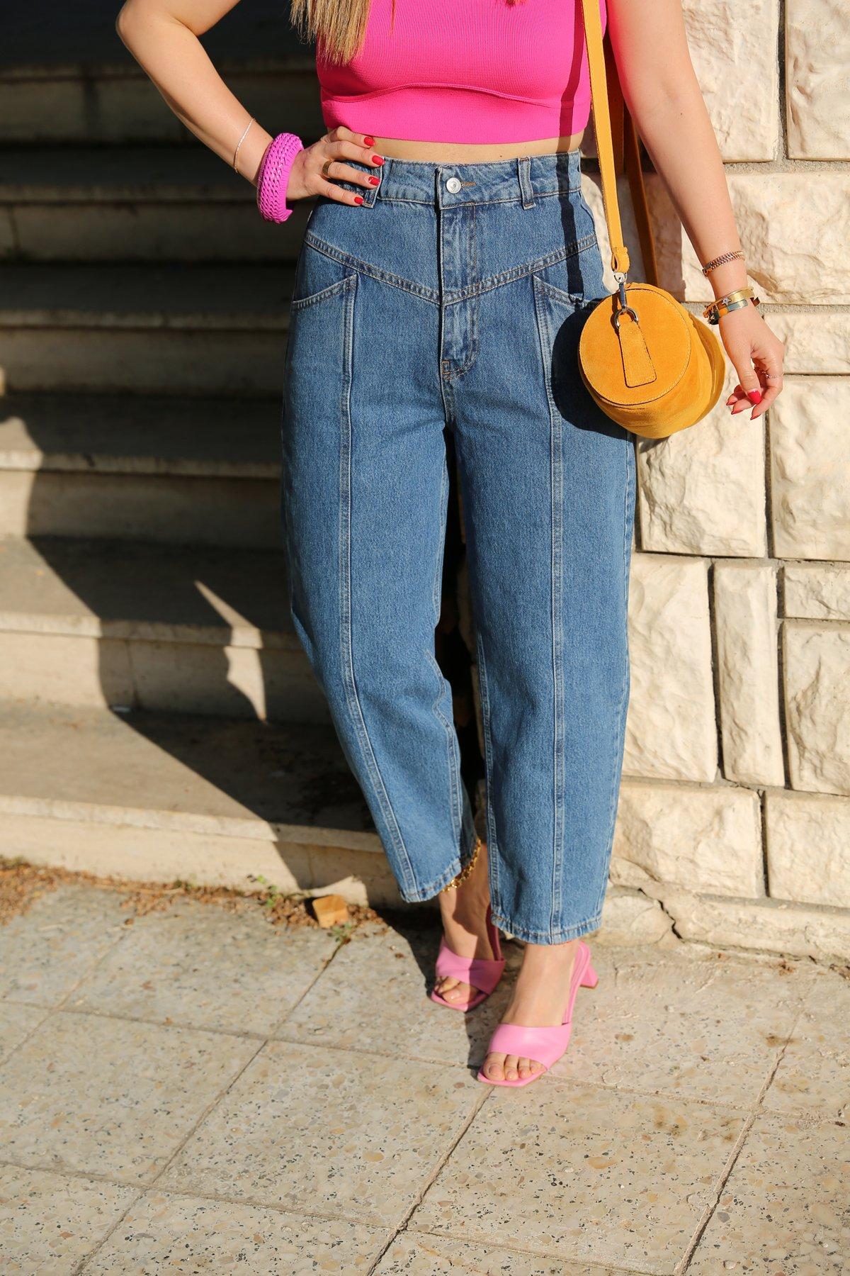 Önü Ve Arkası Parçalı Bol Jean