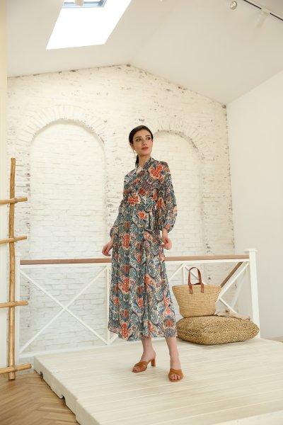 Şal Desen Bağlamalı Uzun Elbise