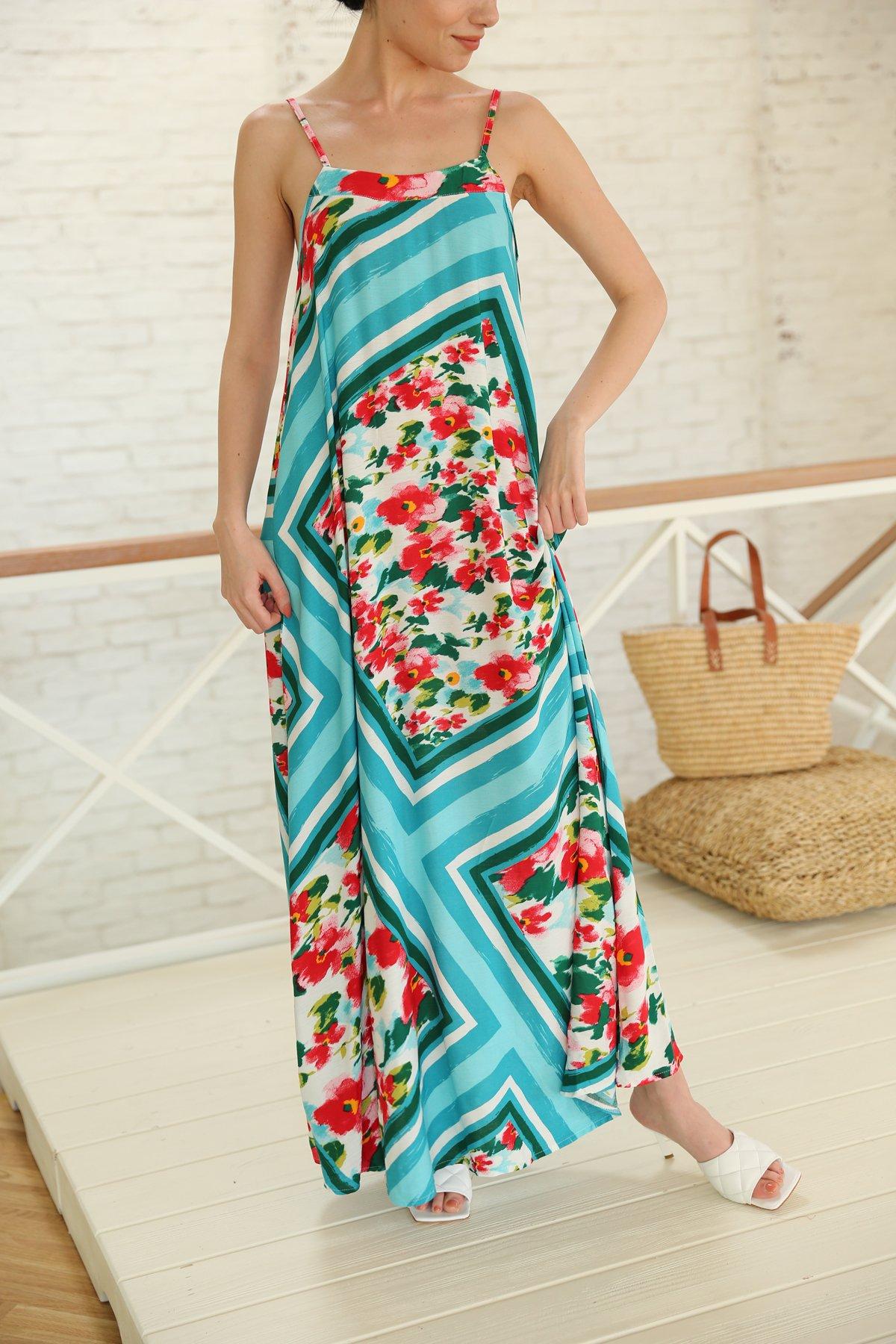 İp Askılı Çiçekli Uzun Elbise