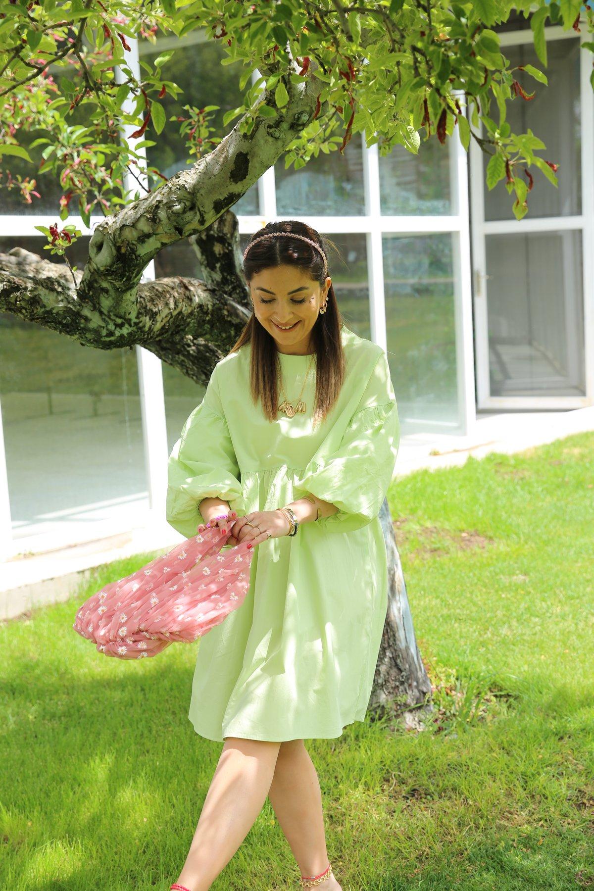 Karpuz Kol Altı Pileli Elbise