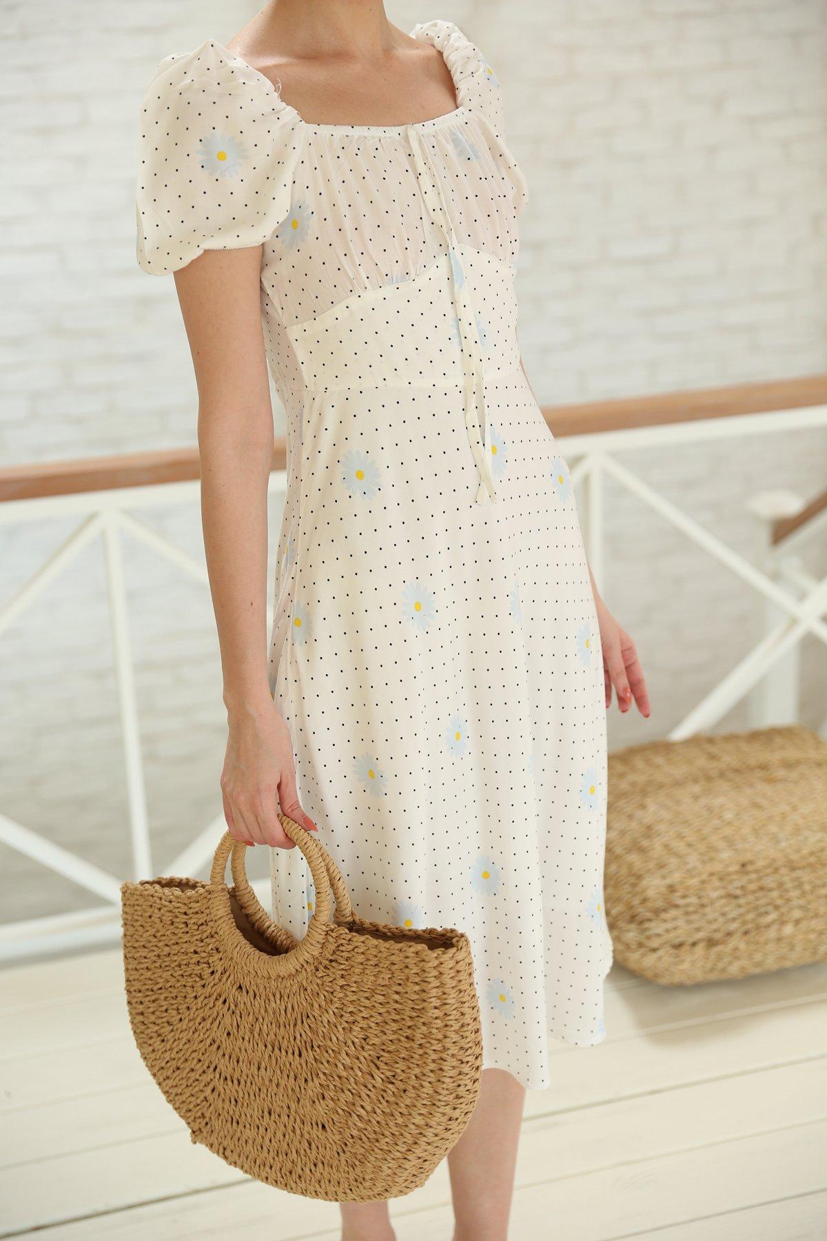 Papatya Desen Yaka Ve Kolları Lastikli Elbise