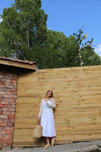 İp Askılı Boydan Düğmeli Elbise