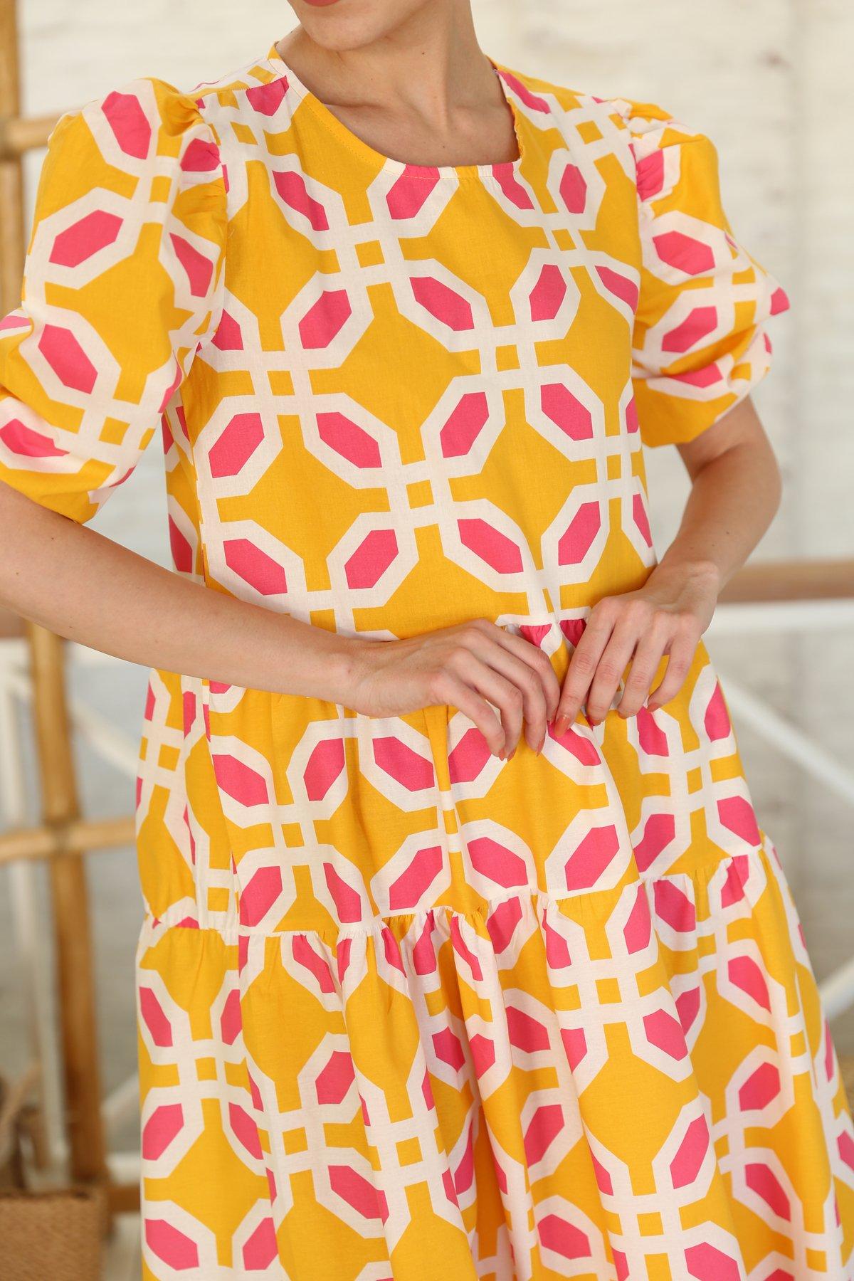 Balon Kol Geometrik Desen Elbise