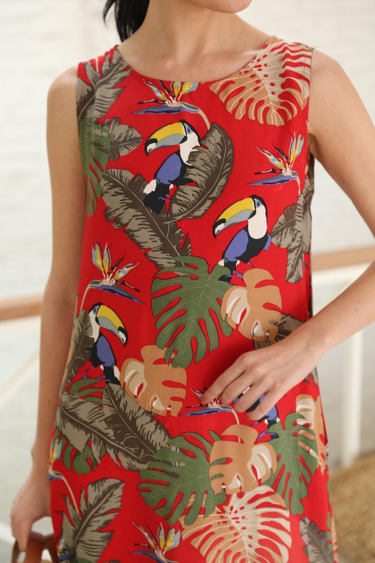 Kuş Baskılı Elbise