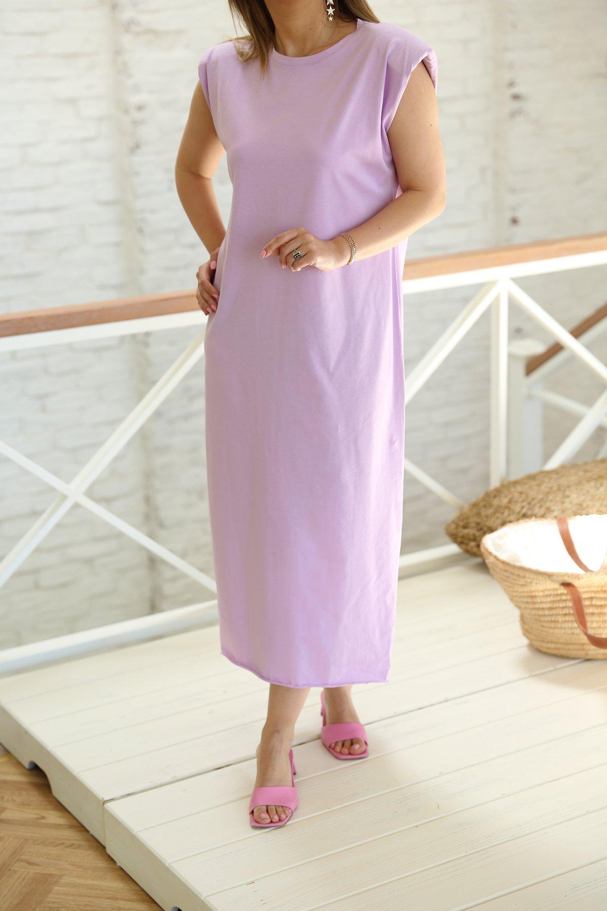 Omzu Vatkalı Penye Elbise