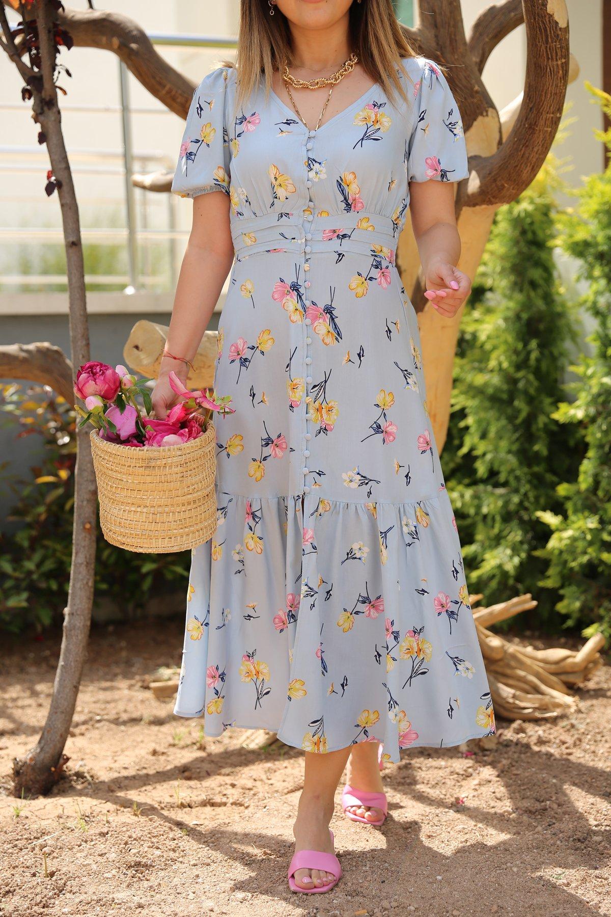 Önden Düğmeli Çiçekli Elbise